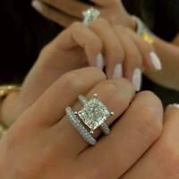 2.20Ct Cushion-Cut Diamond Halo Engagement Ring Bridal Set 14K White Gold Finish