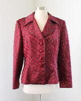 Vtg VIE Victoria Royal Red Maroon Beaded Sequin Evening Blazer Jacket Size 6