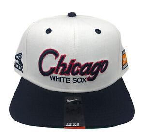 Chicago White Sox Nike Retro Throwback Script Snapback Cap White/Navy NWT
