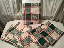 70 inch Round Tablecloth and 6 Napkins Christmas plaid cotton red and green new