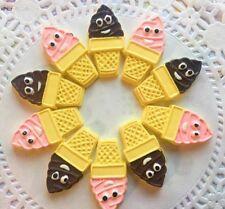 Xl Extra Large Kawaii Smiley Ice Cream Cabochons Decoden Fun 10 Pieces