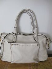 COLE HAAN Off White Women's Leather Braided Hand bag Purse