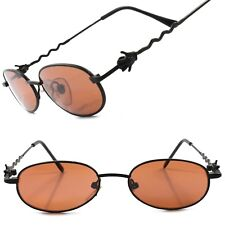 True Vintage Old Deadstock Funky Funny Mens Womens Black Round Oval Sunglasses