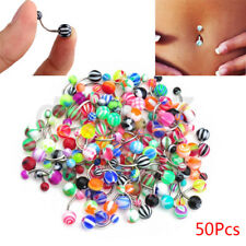 50Pcs Surgical Steel Belly Bar Navel Belly Bars Navel Button Ring Body Piercing