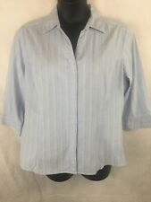 b7ebc875 Riders Instantly Slims You XXL Blue Striped Button Front Shirt 3/4 Sleeve