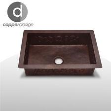 """Hand Hammered Copper Kitchen Sink  Flower Design 33""""x22"""""""