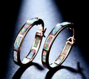 Beautiful Classic Round Hoop Rose Gold Filled White Fire Opal Stud Earrings