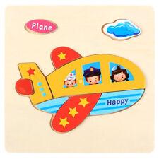 Lovely Wooden Plane Puzzle Educational Developmental Baby Kids Training Toys
