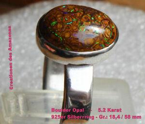Boulder Opal - 5.2 Karat 925er Silberring - Size: 18,4 mm
