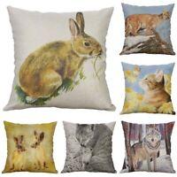 "Print Decor Cushion Case Cover Linen Cotton 18"" Waist Animal Pillow Sofa Home"