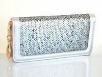 Portefeuille femme argent gris mini sac à main eco cuir pochette paillettes A18