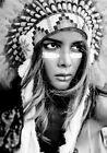 Girl Native American Indian Headdress Black White Art Quality Canvas Print LARGE
