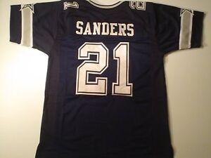 UNSIGNED CUSTOM Sewn Stitched Deion Sanders Blue Jersey - M, L, XL, 2XL
