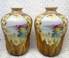 BEAUTIFUL EARLY NIPPON PAIR OF LAKE & MOUNTAIN SCENE VASES