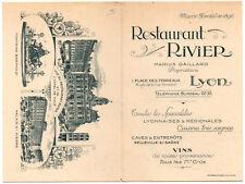 Carte publicitaire du Restaurant RIVIER, place des terreaux à Lyon, avec plan et