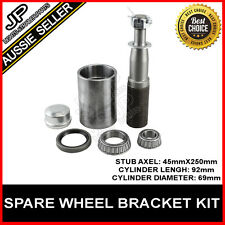 SPARE WHEEL CARRIER BRACKET ROUND STUB AXLE FOR 4WD 4X4 CARAVAN  CAMPER TRAILERS