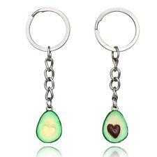 Fashion jewelry fruit key chain 3D chain ceramic soft avocado key chain jewelry