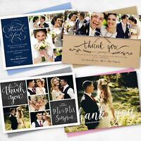 Premium Personalised Wedding Thank You Cards with Photo + FREE Envelopes