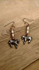 Beaded Horse Earrings, Pot Metal, Glass Beads, copper wire hangers!! NEW!!