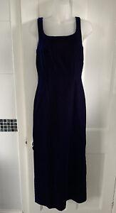 Lovely UK 10 Vintage Monsoon Twilight Blue Plum Two Tone Velvet Maxi Long Dress