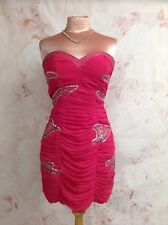12 LIPSY SHORT PINK FITTED CHIFFON DRESS STRAPLESS  PARTY EVENING BODYCON