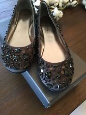 KENNETH COLE REACTION BLACK JEWELED FLATS SIZE 8.5