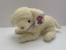 GUND Copyright 1977 1985 Bow Lamb Sheep Cream White Curl Baby Plush Easter New