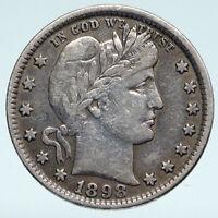 1898 UNITED STATES US Silver LIBERTY Barber Quarter Dollar Coin w EAGLE i89389