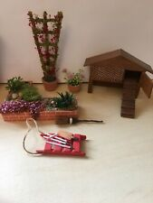 Dolls House 1/12th Job Lot Garden Plants Rabbit Hutch Etc