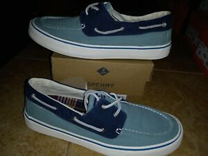 NEW Mens Sperry Bahama II SB Seafoam Navy Boat Shoes, size 10.5