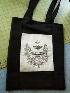 Tote Bag Embroidered handmade Shopping Bag Reversible Fountain and purple flower