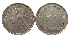 Malaysia Straits Settlements Victoria Silver (.800) 50 Cents 1896 AD
