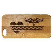 Whale Fluke Case for iPhone 7 Plus Bamboo Wood Cover Ocean Heart Tail Dolphin