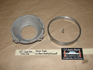67 Cadillac Deville LEFT DRIVER SIDE LOW BEAM HEADLIGHT BUCKET & TRIM RING