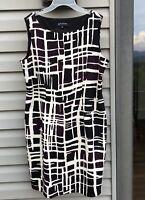 Jones New York Women's Size 16 Abstract Sleeveless Poly Spandex Midi Dress EUC