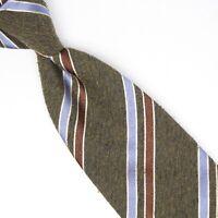 John G Hardy Mens Wool Silk Necktie Brown Blue Textured Stripe Weave Woven Tie
