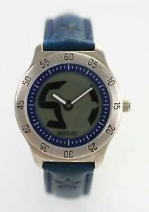 Relic Gray ANA DIG Mens Stainless Silver Blue Leather 30m Quartz Watch