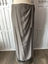 Ann May women's size 10 gray 100% Silk wrap around maxi skirt, evening, work K6