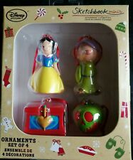 Disney store snow white set of 4 sketchbook mini Christmas ornament box set new