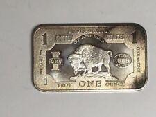 """Bison """"Dollar Bill"""" Buffalo 1 One Troy Oz Ounce .999 Silver Bar"""