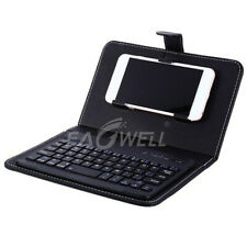 Black PU Leather Wireless Keypad Keyboard w/ Stand Case For iPhone Mobile Phone
