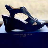 Adrienne Vittadini Collyn 7 SEXY Black Wedge Sling Back Sandals Patent & Fabric