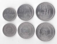MOZAMBIQUE - RARE 0,50, 5 & 10 METICAIS COINS 1982-6 YEAR KM#98, 101 & 102a