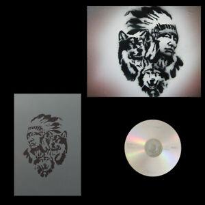 Schablonen Airbrush Indianer mit Wölfe # 0183 & Anleitungs CD
