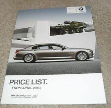 BMW 7 Series Price List 2010 740i 750i 760i 730d 740d SE / M Sport