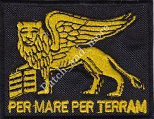 [Patch] SAN MARCO PER MARE PER TERRA LEONE cm8x6 toppa ricamo REGGIMENTO -1109