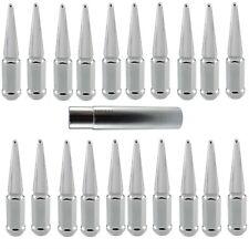"(20) Chrome Spike Lug Nuts 14x1.5 4.4"" Tall w/Key fits Chevy GMC C/K 1500 Trucks"