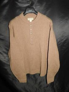 Duluth Trading XL Mens Brown Wool Henley Sweater Button Crew Neck Winter 33501