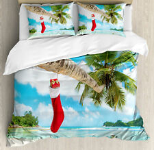 Christmas Queen Size Duvet Cover Set Beach Xmas Stockings with 2 Pillow Shams