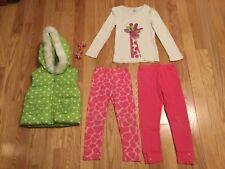 Gymboree Loveable Giraffe 7 PC SZ5 Lot Puffer Vest Shirt 2 PR Leggings Curlies